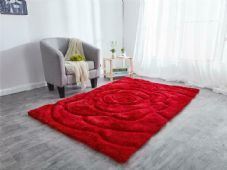 Rugs Home 3D Rose Design Sparkle Living Room Bedroom Floor Mats-Rugs  Nice Red